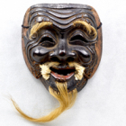 """Image of """"Noh Mask: Sanbasō (Kokushikijō), Inscribed in gold """"Attributed to Nikkō by Nōsei (monogram)"""", Passed down by the Umewaka clan, Nanbokuchō period, 14th century (Important Cultural Property)"""""""