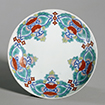 Dish, Floral design in overglaze enamel<br /> Nabeshima ware, Edo period, 17th - 18th century<br /> February 17 - May 10, 2015