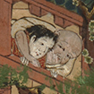 Buddhist priest hugging a woman or man on the temple grounds