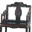 Chair, Carved flower and bat design