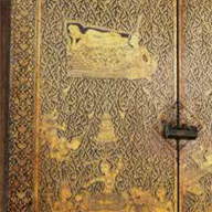 7. <i>Buddhist Sutra Cabinet, Biographies of the Buddha design in gold leaf Ratanakosin</i>