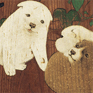 <i>Morning Glories and Puppies</i>, By Maruyama Okyo, Edo period, dated 1784