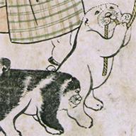 <i>Woman and Child with Puppies</i>, By Kitagawa Utamaro, Edo period, dated 1806
